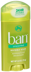 Ban Anti-Perspirant Deodorant Invisible Solid Unscented - 2.6 OZ