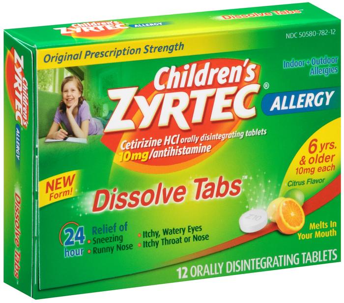 Zyrtec Children's 24 Hour Allergy Dissolve Tabs Citrus Flavor - 12 TAB