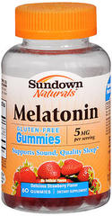 Sundown Naturals Melatonin 5 mg Dietary Supplement Gummies Strawberry Flavor - 60 EA