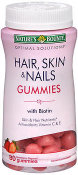 Nature's Bounty Optimal Solutions Hair, Skin & Nails Strawberry Flavored Gummies - 80 EA