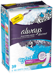 Always Discreet Bladder Protection Pads Long Length Maximum Absorbency - 39 EA [Case of 3]