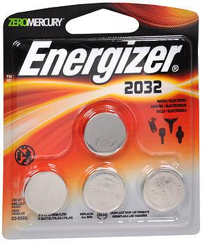 Energizer Zero Mercury 3 V cc Lithium Batteries 2032BP-4 - 4 EA