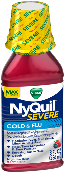 Vicks NyQuil Severe Cold & Flu Liquid Berry Flavor - 8 OZ