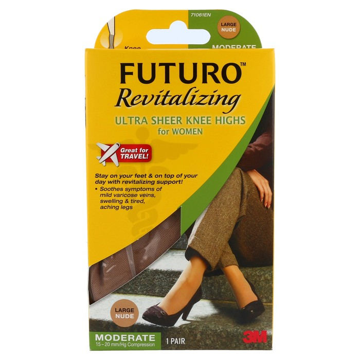 555aee16a3e FUTURO Revitalizing Ultra Sheer Knee Highs for Women Large Nude Moderate  Compression - 1 EA. S3 image