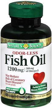 Nature's Bounty Odorless Fish Oil 1200 mg Softgels - 60 TAB