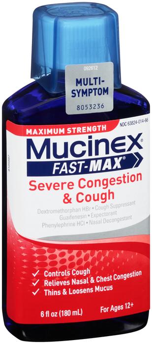 Mucinex Fast-Max Severe Congestion & Cough Liquid Maximum Strength - 6 OZ