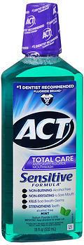 ACT Total Care Anticavity Fluoride Mouthwash Sensitive Formula Mint - 18 OZ