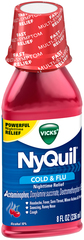 Vicks NyQuil Cold & Flu Nighttime Relief Liquid Cherry - 8 OZ