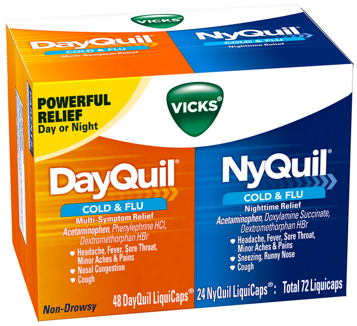 Vicks DayQuil/NyQuil Cold & Flu Multi-Symptom/Nighttime Relief LiquiCaps - 48 CAP