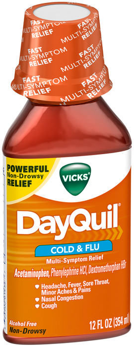 Vicks DayQuil Cold & Flu Liquid - 12 OZ
