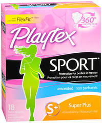 Playtex Sport Tampons Plastic Applicators Unscented Super Plus Absorbency - 18 EA