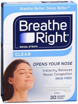 Breathe Right Nasal Strips Clear Sensitive Skin Small/Medium - 30 EA