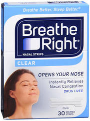 Breathe Right Nasal Strips Clear Sensitive Skin Small/Medium - 30 EA