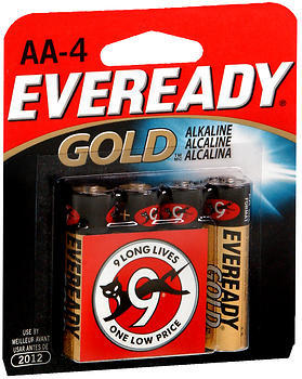 Eveready Gold Alkaline Batteries AA - 4 EA
