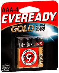Eveready Gold Alkaline Batteries AAA - 4 EA