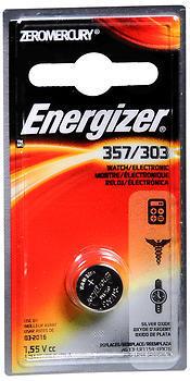 Energizer Zero Mercury Watch/Electronic Silver Oxide Battery 357/303 - 1 EA