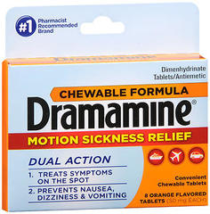 Dramamine Motion Sickness Relief Chewable Tablets Orange Flavored - 8 TAB