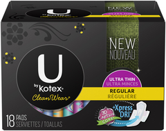 U by Kotex Clean Wear Pads Regular - 18 EA