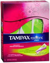 Tampax Radiant Plastic Tampons Super - 16 EA