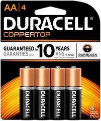 Duracell Coppertop Alkaline Batteries AA - 4 EA
