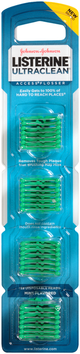 Listerine Ultraclean Access Flosser Disposable Heads Mint Flavored - 28 EA