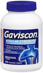 Gaviscon Antacid Chewable Tablets Regular Strength Original Flavor - 100 TAB