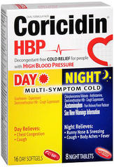 Coricidin HBP Day/Night Multi-Symptom Cold Softgels/Tablets - 24 TAB