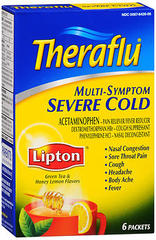 Theraflu Multi-Symptom Severe Cold Powder Packets Lipton Green Tea & Honey Lemon Flavors - 6 EA