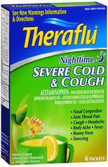 Theraflu Severe Cold & Cough Powder Packets Nighttime Honey Lemon Infused with Chamomile & White Tea Flavors - 6 EA