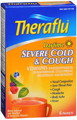 Theraflu Daytime Severe Cold & Cough Packets Berry Infused with Menthol & Green Tea Flavors - 6 EA
