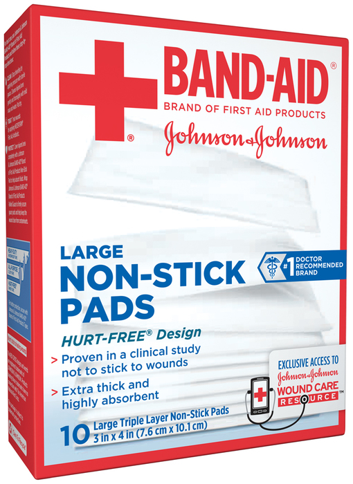 BAND-AID Non-Stick Pads Large 3 inch x 4 inch - 10 EA