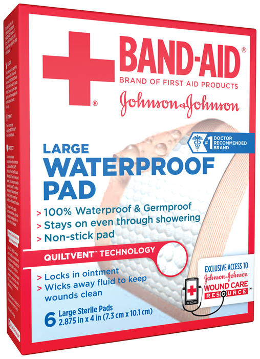 BAND-AID Waterproof Pads Large 2.875 in x 4 in - 6 EA
