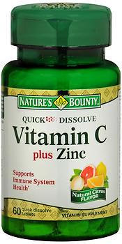 Nature's Bounty Vitamin C plus Zinc Quick Dissolve Tablets Natural Citrus Flavor - 60 TAB