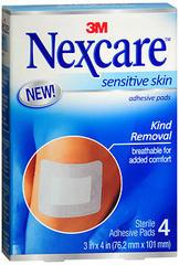 3M Nexcare Adhesive Pads Sensitive Skin - 4 EA