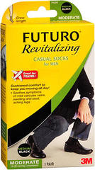 FUTURO Revitalizing Casual Crew Length Socks for Men Moderate Compression Medium Black - 1 EA