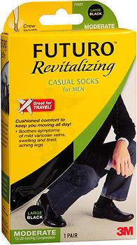 FUTURO Revitalizing Casual Crew Socks for Men Large Black Moderate Compression - 1 EA