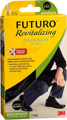 FUTURO Revitalizing Casual Crew Socks for Men Large Black Moderate Compression - 1 EA