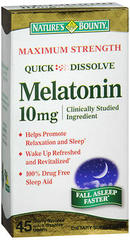 Nature's Bounty Melatonin 10 mg Dietary Supplement Quick Dissolve Tablets - 45 TAB