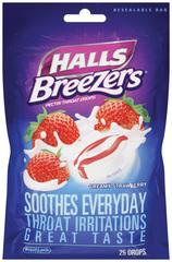 Halls Fruit Breezers Throat Drops Cool Creamy Strawberry  -  25 EA