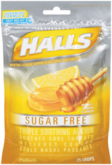 Halls Mentho-Lyptus Drops Sugar Free Honey-Lemon  -  25 EA
