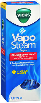 Vicks Vapo Steam Liquid Medication for Hot Steam Vaporizers Cough Suppressant - 8 OZ