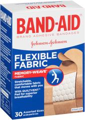 Band-Aid Adhesive Bandages, Flexible Fabric, Assorted Sizes  - 30ea