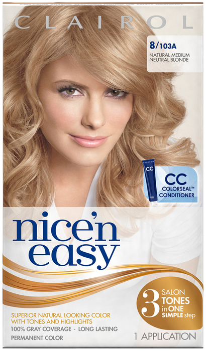 Nice 'n Easy Haircolor with Built-In Highlights, Level 3 Permanent, Natural Medium Neutral Blonde 103A  - 1ea