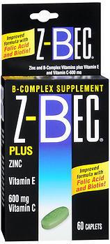 Z-Bec B Complex Plus Zinc, Vitamin E, & Vitamin C, Tablets ...