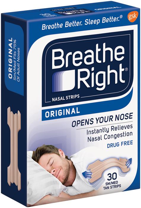 Breathe Right Nasal Strips, Tan, Small/Medium  - 30ea