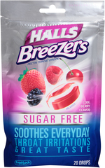 Halls Fruit Breezers Throat Drops Sugar Free Cool Berry  -  20 EA