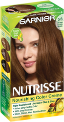 Garnier Nourishing Color Treatment with Fruit Oil Concentrates, Level 3 Permanent, Medium Golden Brown 53  - 1ea