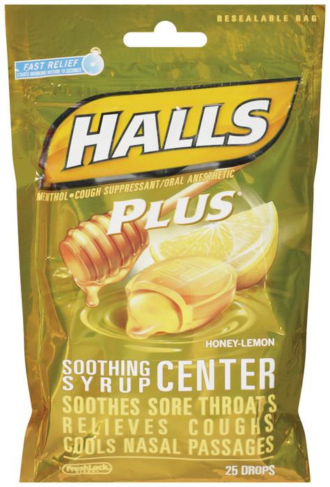 Halls Cough Suppressant with Medicine Center Drops, Honey Lemon Plus  - 25ea