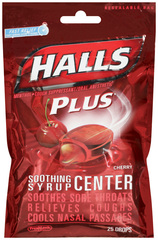 Halls Menthol/Cough Suppressant/Oral Anesthetic with Medicine Center Drops, Cherry  - 25ea