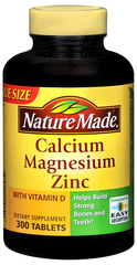 Nature Made Calcium/Magnesium/Zinc Tablets - 300 Tablets
